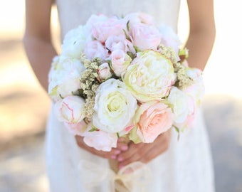 Silk Bride Bouquet White Cream Pale Pink Roses Peonies Wildflowers Natural Bouquet Shabby Chic Vintage Inspired Rustic Wedding (1016)