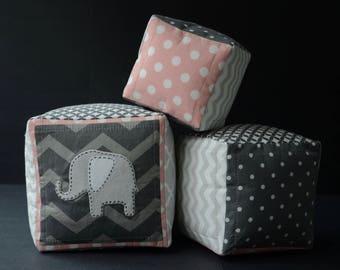 Safari soft baby blocks with hand sewn elephant appliqués - safari theme - Pink - Gray - White - Modern - Homemade