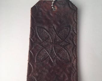 Hand Tooled Leather Key Chain or Luggage Tag