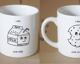 Hand-Drawn Milk and Cookie Friendship Coffee Mug Set!