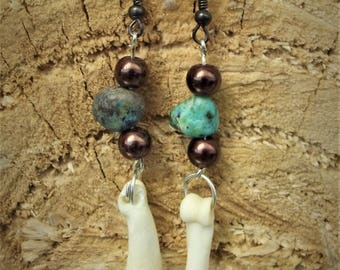 Wolf bone and turquoise earrings