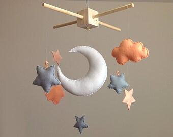 Moon & Stars Baby Mobile . Peach Nursery Decor . Baby Girl Baby Shower Gift . Peach Grey Nursery . Baby Shower . Stars Nursery Mobile