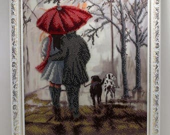 Beaded picture Night Walk people man woman umbrella dogs bead-embroidered decor gift beadwork embroidery bead art interior design decoration