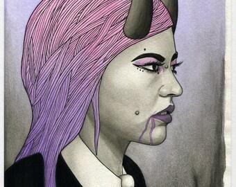 Original Watercolor & Ink Surreal Goth Macabre Demon Portrait