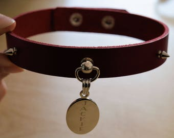 Personalised Engraved Red Leather Snap On BDSM collar. Bondage, slave.