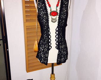 Vintage Black Sheer/Lace Vest With Back Tie