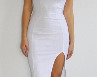 Angelic Split Bodycon Midi Dress