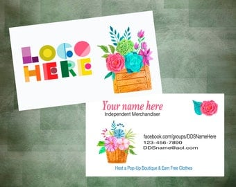 Business Card with flowers, Printable, Customized, Personalized Card, Digital, DotDotSmile, modern Business Card, Custom Card, Retailer Card