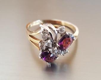 Vintage Garnet and Diamond gold ring