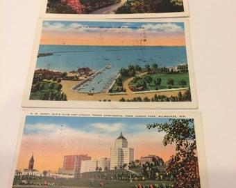 Vintage Post Cards WISCONSIN Linen Book