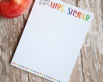 Back to School Personalized Teacher Notepad - Teacher Gift - End of Year Teacher Gift - Style: Rainbow Letters