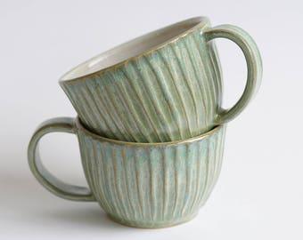Mud Stroke Cup in Green tea - Coffee - Capuccino - Tea - Ceramic cup - Handmade