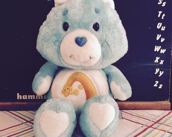 Vintage 1980s Care Bear Wish Bear Stuffed Plush Toy