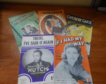 5 Vintage 1940's Sheet music