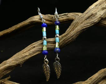 Earrings Turquoise )( Peridot )( Lapis lazuli )( completely natural bead precious gemstone silver plated jewelry gift leaf feather (#BJ7)