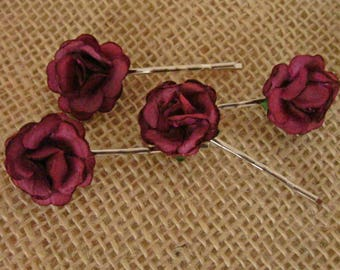 Burgundy Red Rose Hair Pins, Bobby Pins, Rose Slides, Country Wedding Hair, Bridesmaid, Flower Pins, Boho Hair Pins, Flowergirl,