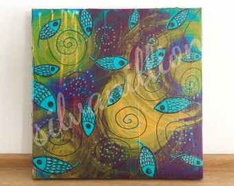 FISH flower PETALS swirl around 20 x 20 acrylic painting