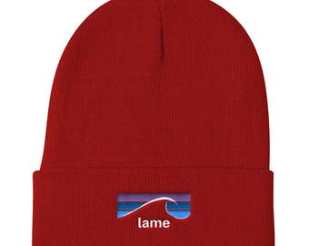 Beanie with Lame Logo, Embroidered Beanie, Indie Beanie, Big Beanie, Winter Hat, Slouchy Beanie, Men's Beanie Hat, Women's Beanie Hat