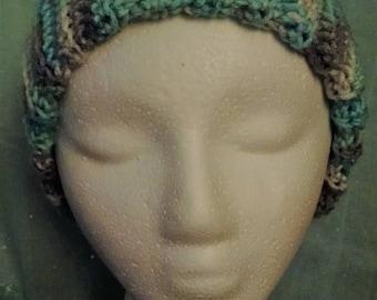 Crochet Blue Gray Ribbed Stocking Cap