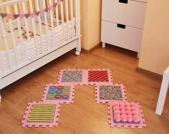 PINK- GREY Massaging Sensory Mat For Toddler Feet/ Kids Sensory Rug (6 pcs)