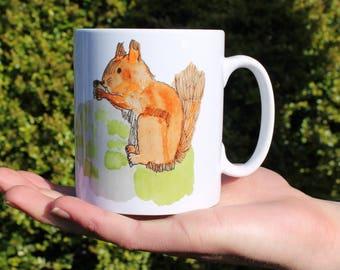 Red Squirrel Mug, Ceramic, Illustrated