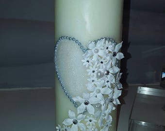 Beautiful hand decorated candle