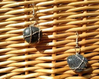 Black Beach Stones Handmade Earrings
