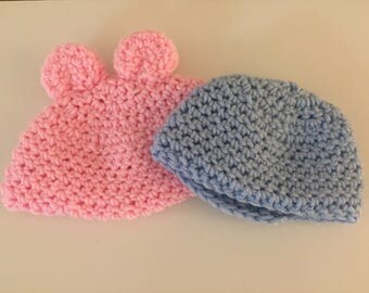 Newborn Baby Bear Ears Hat, Baby Hat, Newborn Hat, Baby Bear Hat, Bear Ears Hat, Newborn Gift, Baby's First Hat, Baby Shower Gift