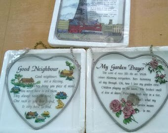 Vintage glass wall plaques Blackpool, Good Neighbour and the Garden Prayer.  Metal fram and metal chain would consider splitting.