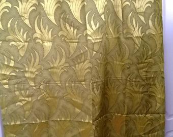 Vintage 60s Pair of Leaf Pattern Curtains Dark Lime Damask Brocade