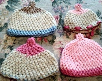 Boobie Beanie Hat Pink, Blue & Off White - breastfeeding hat newborn gift preemie hat lactation baby shower newborn beanie baby hats