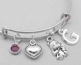 Panda charm bracelet | panda bangle | personalised panda bracelet | panda jewelry | panda gift | initial letter | birthstone