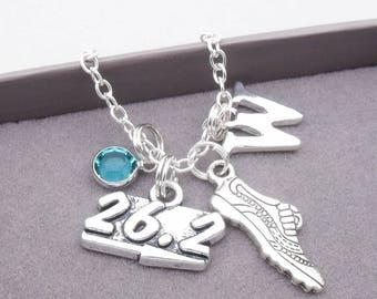 Marathon runner monogram necklace   running necklace   marathon pendant   personalised marathon necklace   marathon running jewelry