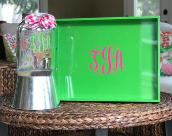 Monogrammed Tray, Personalized Tray, Lacquer Tray, Serving Tray, Decorative Tray, Acrylic Tray, Mother's Day Gift