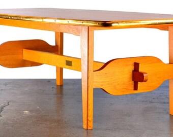Vintage Danish oak coffee table with intarsia&brass banding seaside naval marine
