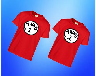 Thing 1 Thing 2 Shirt, Thing One Thing Two Tshirt, Twins, Matching Youth Toddler Kids Outfits, Dr. Suess Cat in the Hat, Birthday Twin Gift