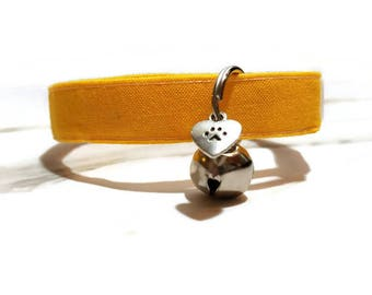 Canary Yellow Cat Collar, Spring Cat Collars, Cute Cat Collars, Breakaway Cat Collar, Kitty Collar, Cotton Cat Collar, Solid Color Collars,