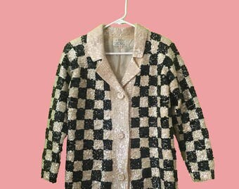 M 1960's Cyn Les 100% Wool Hand-Beaded Cardigan