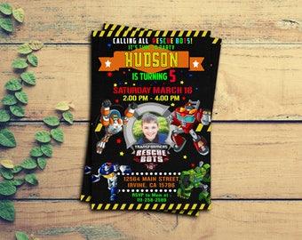Rescue Bots Invitation,Rescue Bots Birthday Invitation,Resque Bots Party,Resque Bots Invite,Rescue Bots Birthday,Resque Bots SS