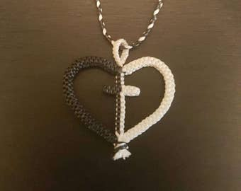 Heart Cross Woven Adjustable Necklace