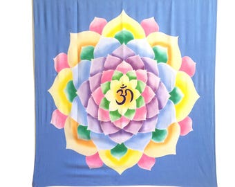 Hand painted  batik tapestry yoga decor lotus om