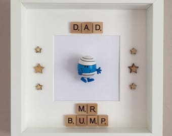 Handmade Scrabble Art Dad/Daddy Mr Men Mr Bump Frame - Father's Day, Birthday, Christmas