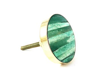 Emerald Green and Gold Discoid Knob, Round Green and Gold Knob, Luxe Cabinet Hardware, Modern Furniture Knob, Vintage Knob, Traditional knob