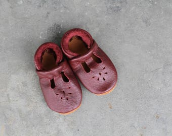 BURGUNDY II Mary Jane T-strap  Moccasins Soft Soled Leather Shoes Baby and Toddler