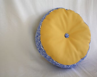 Round Pillow - Faux Leather Yellow, Paisley Blue/White, Button Accent