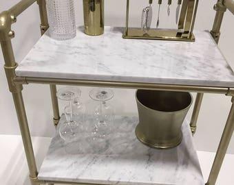 Gold pipe & Carrera Marble Bar Unit