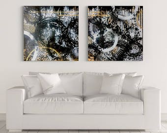 Original Art, Abstract Painting, Fine Art Print, Acrylic Painting, Black and White Wall Hanging, Wall Art, Modern Wall Decor 30 x 30