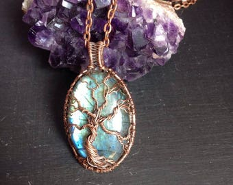 Labradorite tree of life pendant, necklace in copper wire, wire wrapped necklace