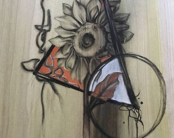 Custom charcoal on wood