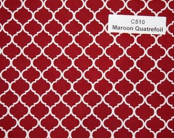 Maroon Quatrefoil Cotton Fabric  SHIPS FAST Quatrefoil Cotton fabric for quilting sewing Fabric Store low price free shipping available C510
